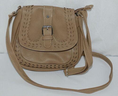 Non Branded Womens Tan Zipper Saddle Bag Purse With Adjustable Shoulder Strap