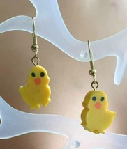 Super Cute Yellow Vinyl Baby Chick Gold-tone Pierced Earrings 1980s vint... - $12.30