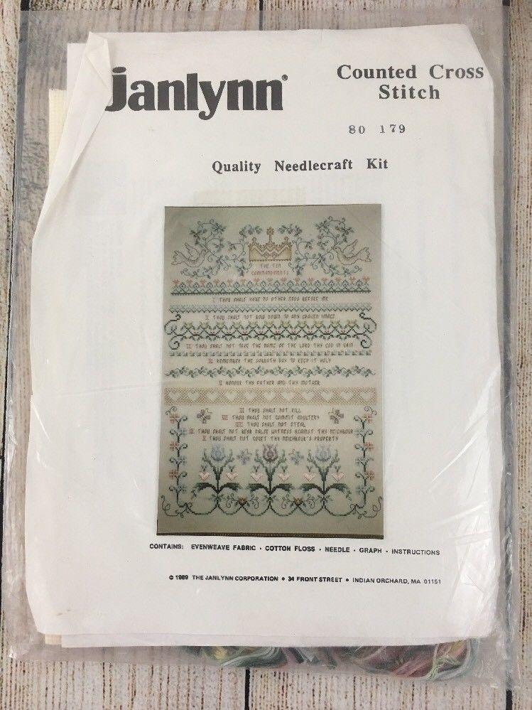 3 Cross Stitch Kits Janlynn Ten Commandments, Kitten and Yarn - Winter Church