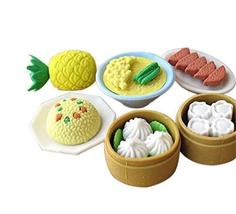 3 Sets Of Creative Cute Cartoon Erasers Chinese Dim Sum Modeling - $17.64