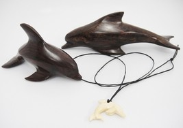 Dolphin Lot of 2 Carved Ironwood Wooden Dolphins and Necklace Pendant Ve... - $29.69