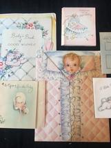 Set of 8 Vintage 40s illustrated Birth/Baby card art (Set B) image 3
