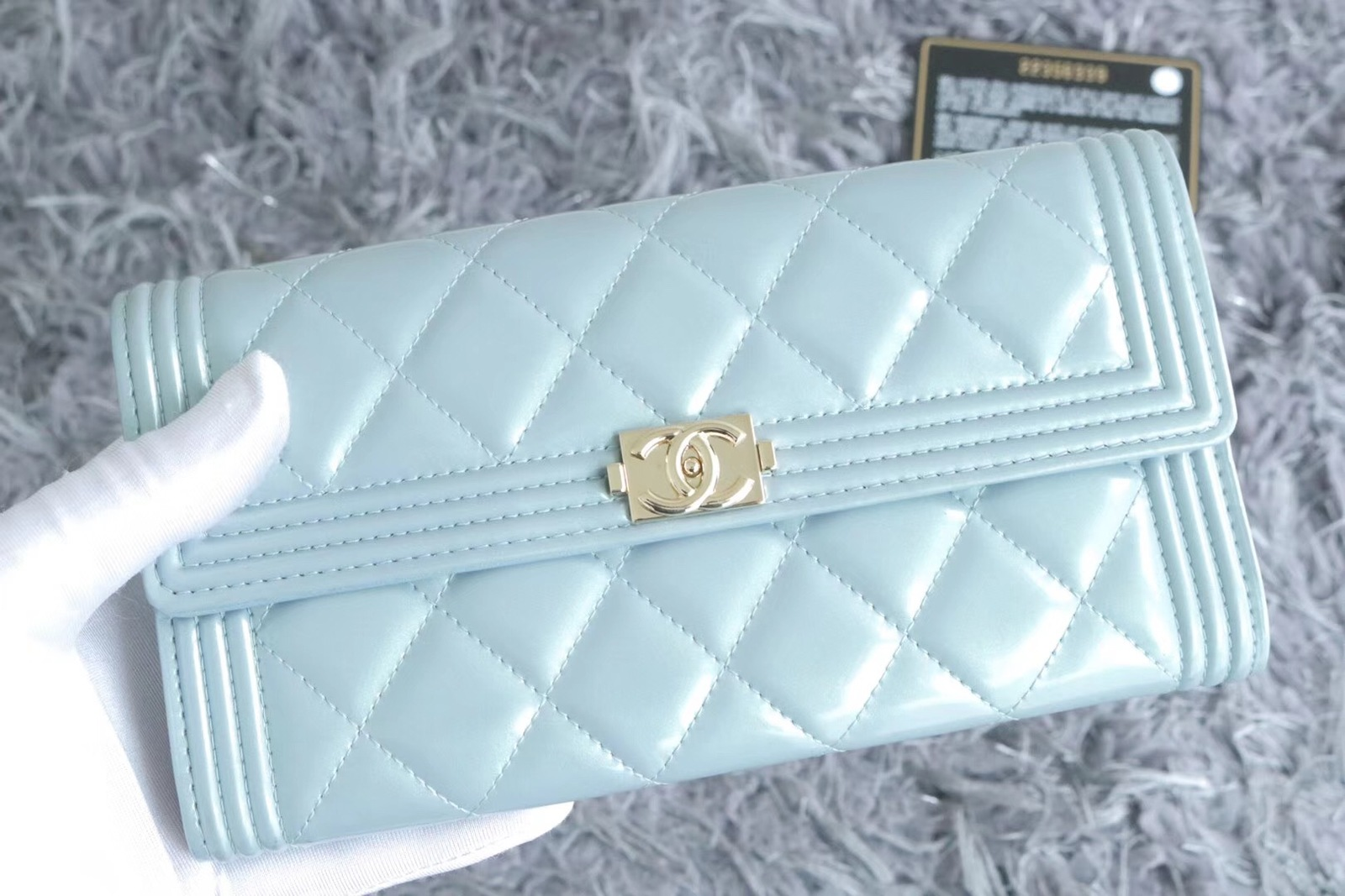 100% AUTH CHANEL PEARLESCENT BLUE QUILTED LEATHER BOY TRI-FOLD WALLET CLUTCH