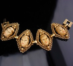 Vintage Selro Bracelet / Asian goddess jewelry / oriental heads with pea... - $125.00