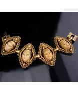 Vintage Selro Bracelet / Asian goddess jewelry / oriental heads with pea... - $125.00