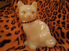 Fenton November Birthstone Cat with Topaz Rhinestone Collar - Handpainted - $22.28
