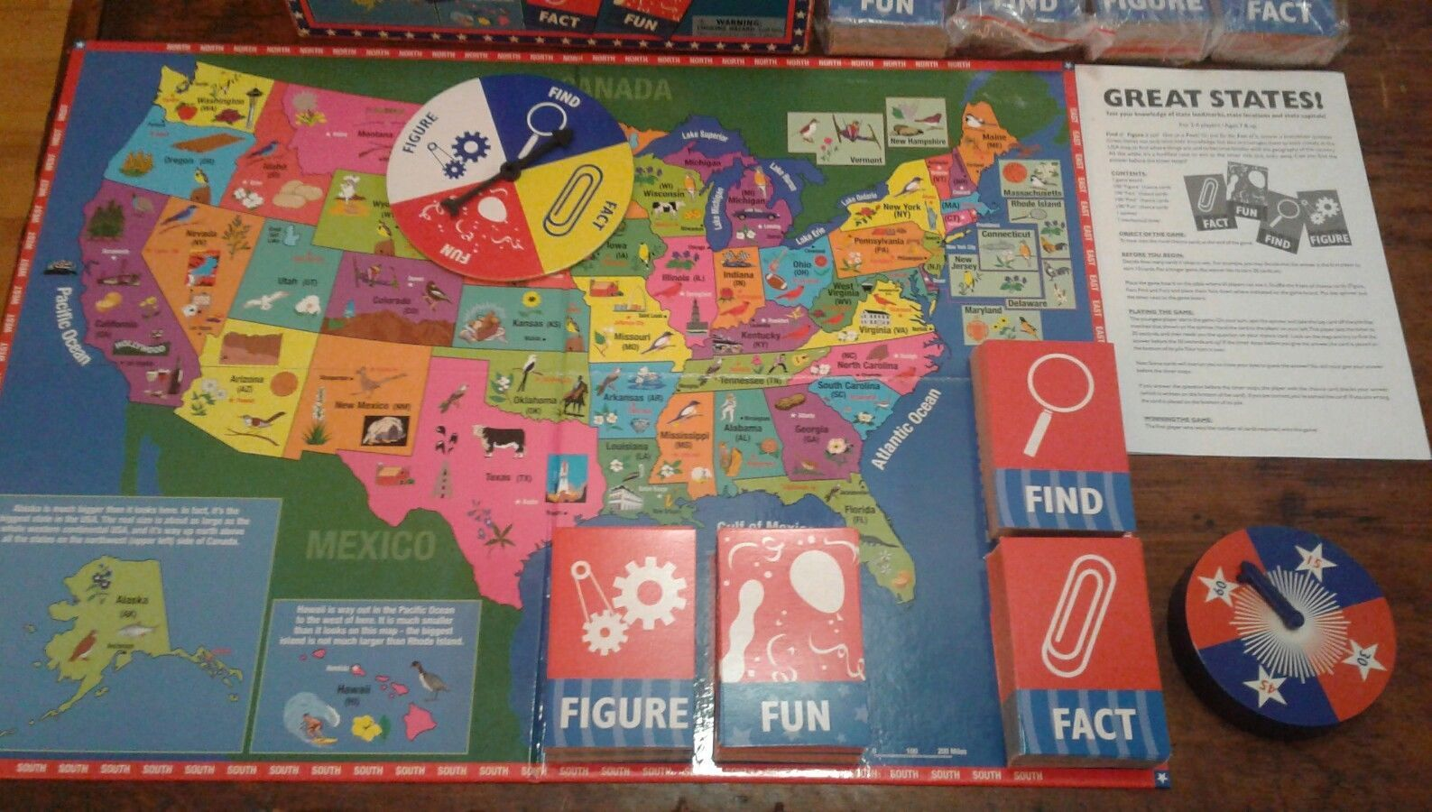 Great States Board Game Test Your Knowledge Of State Landmarks Capitals Etc