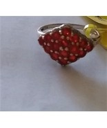 Fire Opal Round & Diamond Cocktail Ring, Platinum / Silver, Size 8, 1.30... - $109.99