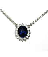 Princess Di Kate Royal Sapphire Blue Glass Crystal Necklace Oval Clear N... - $16.50