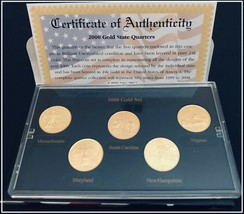 2000 GOLD Layered U.S. Mint State Quarters - BU- Set of 5 Coins - with CA - $9.50
