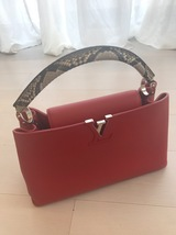 100% Authentic Louis Vuitton CAPUCINES MM Bag Red Taurillon Python image 2