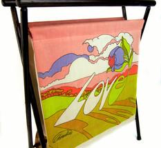 Vtg 1970 Chereskin LOVE Cloth & Wood Frame Collapsible Magazine Book Rack - $64.30