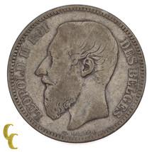 1867 Bélgica Belga 2 Francos Moneda de Plata Muy Fina Estado km#30.1 - $84.14