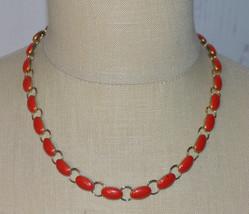 Red Enamel Gold Tone Choker Necklace Vintage - $19.80