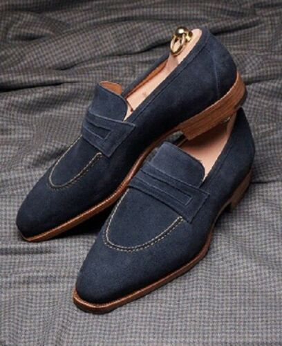 Handmade Men's Navy Blue Slip Ons Loafer Suede Shoes