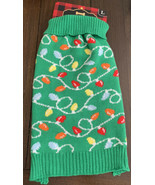 WOOF Pet Dog Knit Sweater LARGE Holiday Green Christmas Lights NWT - $14.84