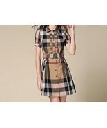 NEW Girls Junior Size Beige Nova Check Frill Shirt Dress Belt Short Slee... - $32.51+