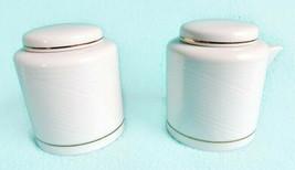 Dansk Brocade Gold Creamer Sugar Bowl Tapestries Winter White Cream - $24.25