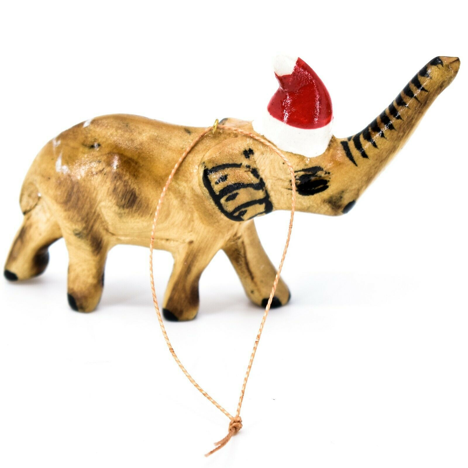 Hand Carved Painted Jacaranda Wood Santa Hat Elephant Safari Christmas Ornament