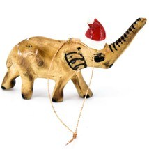 Hand Carved Painted Jacaranda Wood Santa Hat Elephant Safari Christmas Ornament