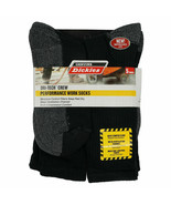 Dickies Men's Dri-Tech Crew 5-pack WORK SOCKS Black Shoe Size 6-12 NEW - $12.36