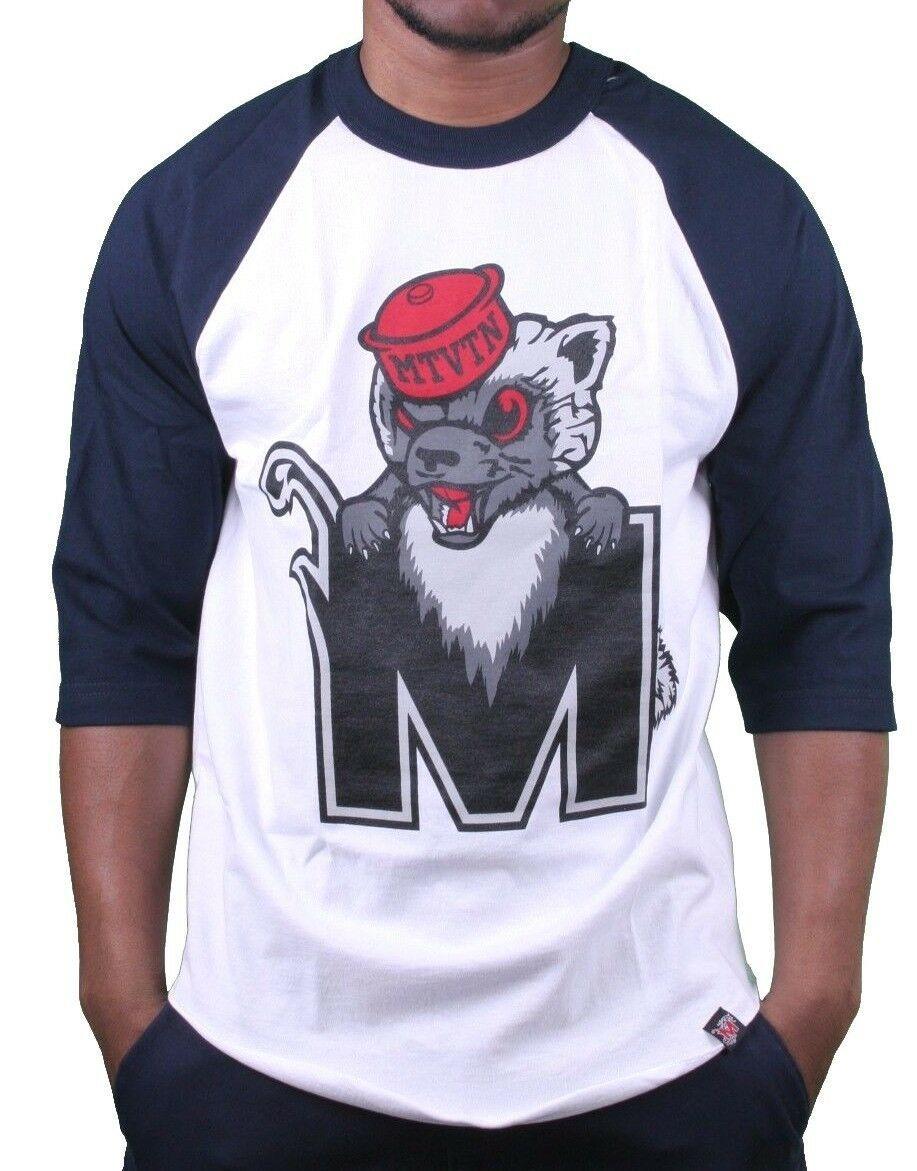 Motivation Ann Arbor Hommes Marine Blanc Cacher Mascotte 3/4 Manche Raglan Nwt