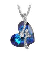 "Charm Women's ""Venus"" Shooting Star Engraved Bermuda Blue Heart Necklace... - $62.49"