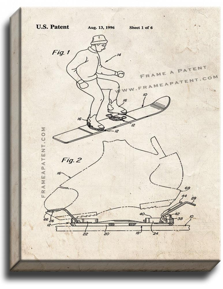 Primary image for Step-in Boot Binding Patent Print Old Look on Canvas