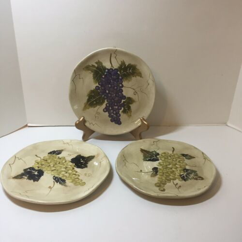 Primary image for 3 Salad Plates Cabernet Tabletops Unlimited Grapes 8.5""