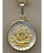 "British ½ penny ""Sailing ship"" gold on silver coin pendant necklace - $86.00"