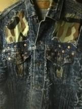 Levi stratus retro camo blue jeans JACKET vest - $16.83