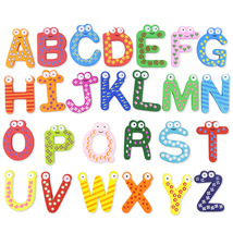 Colorful Cartoon Magnetic Alphabet 26 English Letters A-Z Wooden Fridge ... - $12.40