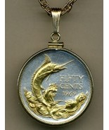 "Bahamas 50 cent ""Blue Marlin"" Gold on Silver Coin Pendant Necklace - $105.00"