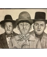 PENCIL PORTRAIT DRAWING THE THREE STOOGES - £35.98 GBP