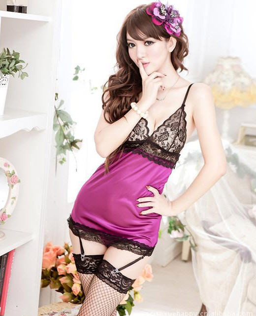 9039 Sexy lace bra top & satin dress, with, g-string, ,Free size, fit to s/m/l,  image 4