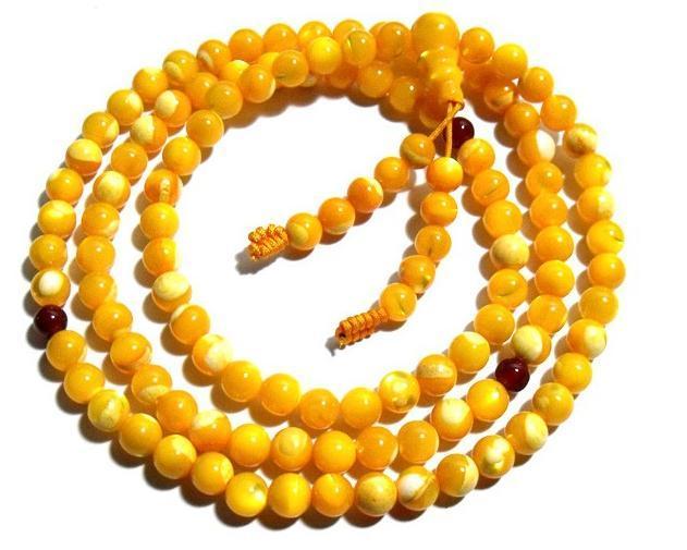 6mm Tibet Buddhism 108 Glod Tridacna Prayer Bead Mala