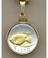 "Bermuda 5 cent ""Angel fish"" 2 Toned gold on silver coin pendant necklace - $72.00"