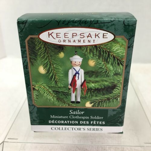 Primary image for 2000 Clothespin Soldier #6 Mini Hallmark Christmas Tree Ornament MIB PriceTag H2