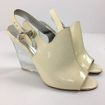 Nine West Size 8 Clear Lucite Patent Leather Ivory Sling Back Wedge Heel... - €16,26 EUR