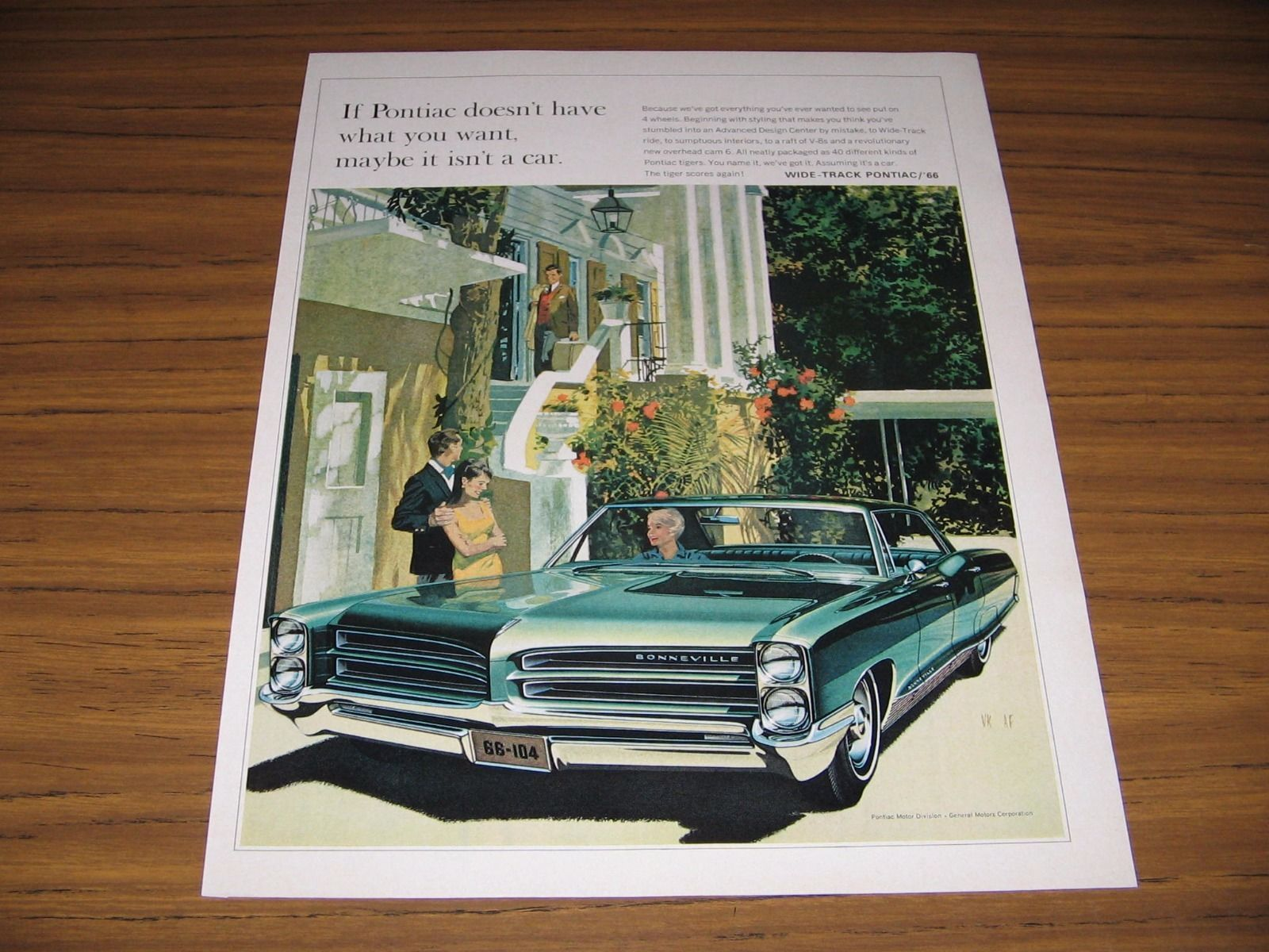 Primary image for 1965 Print Ad The 1966 Pontiac Bonneville 4-Door