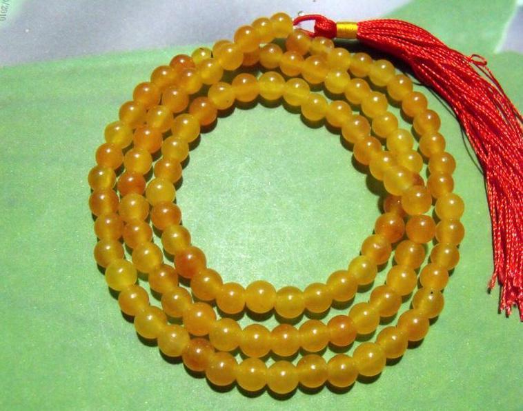 Tibet Buddhism 108 Yellow Jade Prayer Bead Mala