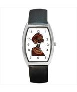 Women's Beautiful African Printed 3cm x 3.8cm Case Barrel Watch, Leather... - $17.99