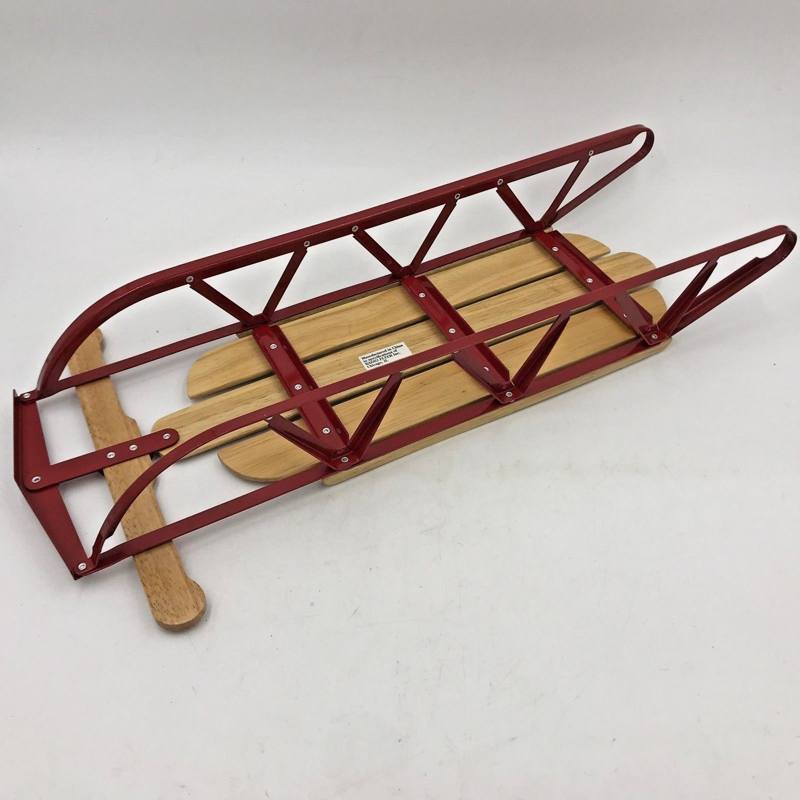 """Radio Flyer Christmas Decor Doll Little Wood Sled 551 New in Open Box 16.5"""" GM"""