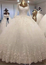 Gorgeous Tulle Ball Gown Wedding Dress W Lace Appliques & 3D Flowers & B... - $452.00