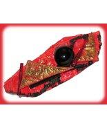 Mod Hair Barrette Red, Black, & Gold Artisan Hand Crafted Lightweight - $24.99