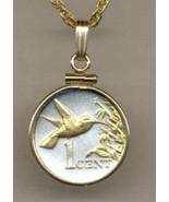 """Trinidad & Tobago 1 cent """"Hummingbird"""" gold & silver coin pendant necklace - $80.00"""