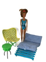 Mattel Barbie Furniture Lot Outside Double Lounge with chair and table 2... - $16.78