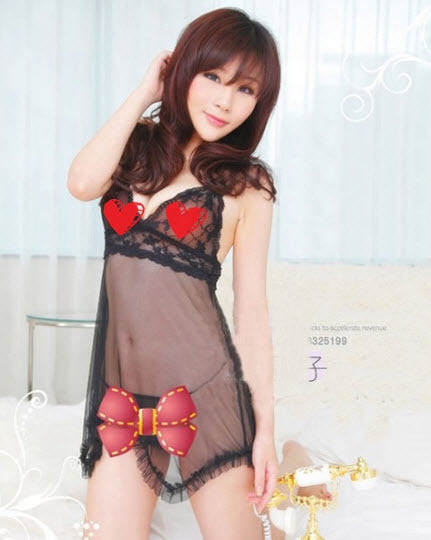 8042 Sexy halter sheer neck dress w lace bra top, g-string, ,Free size, fit to s image 3