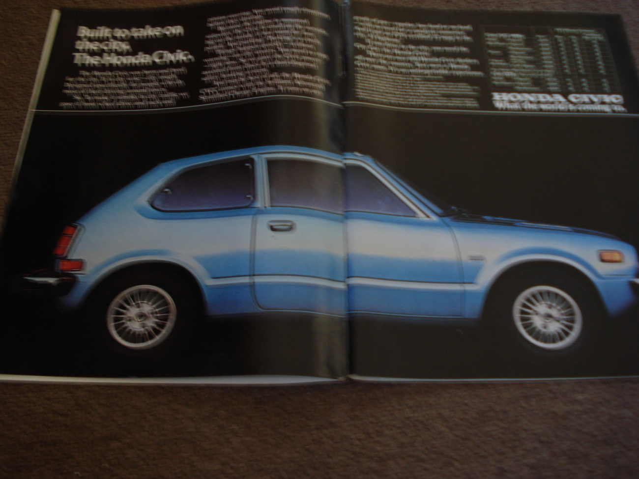 1976 Honda Civic Original Full Two Page Color Print Ad - Collectible - Vintage - $3.99