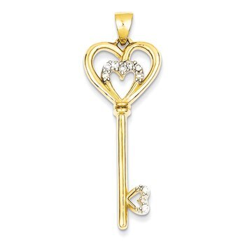 Primary image for Lex & Lu Sterling Silver w/vermeil CZ Heart within Silver Heart Key Pendant